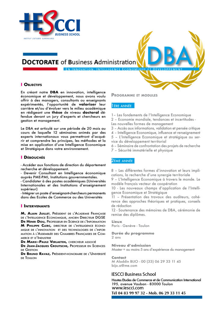 Doctorate Business Administration (DBA)